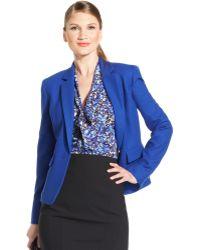 Anne Klein Textured Single Button Blazer - Lyst