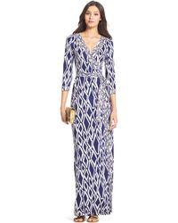 Diane von Furstenberg Dvf Banded Julian Long Silk Jersey Wrap Dress - Lyst