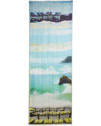Etro Beach Print Linen & Silk Scarf blue - Lyst