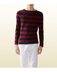 Gucci Striped Silk Cotton Sweater - Lyst