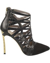 Sam Edelman Sydney Leather And Suede Cage Booties - Lyst