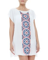 Milly Embroidered Cape Swimsuit Coverup - Lyst