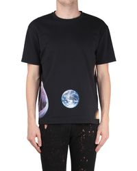 Raf Simons Slighty Boxy Cotton Tshirt with Shark Earth Print - Lyst