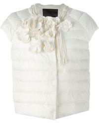 Ermanno Scervino Flower Appliqué Padded Jacket white - Lyst