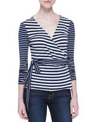 Diane von Furstenberg Behati Striped Knit Wrap Top - Lyst