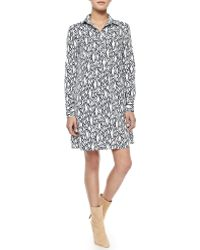 Diane von Furstenberg Printed Long-Sleeve Shirtdress - Lyst