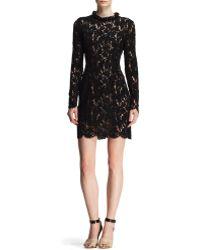 Lanvin Velvet Lace Embellishedneck Dress - Lyst