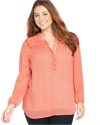 Lucky Brand Jeans Lucky Brand Plus Size Printed Beaded Blouse - Lyst