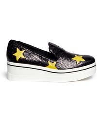 Stella McCartney Star Appliqué Snake Effect Platform Wedge Slip-Ons yellow - Lyst