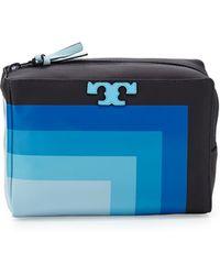 Tory Burch - Stripe-t Medium Cosmetic Case - Lyst