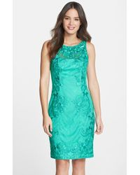Sue Wong Embroidered Lace Sheath Dress - Lyst
