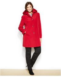 Calvin Klein Plus Size Hooded Single-Breasted Raincoat - Lyst