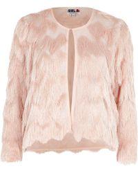 River Island Light Pink Chelsea Girl Fringed Jacket - Lyst