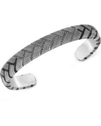 Swarovski Men'S Caesar Rhodium-Plated Black Crystal Cuff Bracelet - Lyst