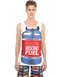 Moschino Fuel Printed Cotton Jersey Tank Top - Lyst