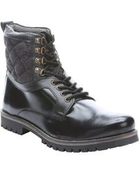 Ben Sherman Black Leather Quilted Detail Miller Boots - Lyst