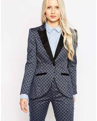 Closet Blazer With Contrast Lapels - Blue