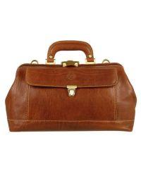 Chiarugi Genuine Italian Leather Doctor Bag - Brown