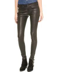 True Religion Halle Leather Super Skinny Pants  Black - Lyst
