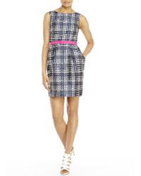 Eliza J Belted Houndstooth Dress - Lyst