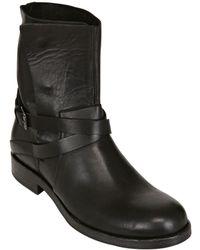 Sartori Gold Leather Biker Boots - Black