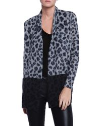 White + Warren Pocket Paw Printed Open Cardigan - Lyst