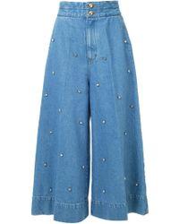 MUVEIL Embellished Wide Leg Jeans - Blue