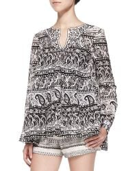 Thakoon Addition Long-Sleeve Paisley Blouse W/ Contrast Collar - Lyst