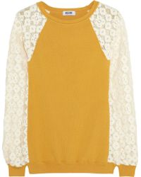 Moschino Cheap & Chic Lace and Ribbed-knit Sweater - Lyst
