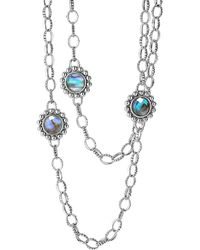 Lagos Silver Maya Abalone Chain Link Necklace - Lyst