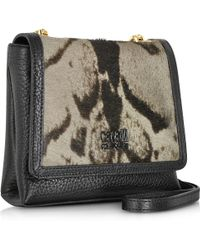 Class Roberto Cavalli Leather Haircalf Constance Small Bag Wshoulder Strap - Black