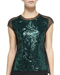 BCBGMAXAZRIA Obree Sequined-front Mesh Top - Lyst