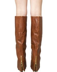 Akira Black Label Knee High Foldover Covered Wedge Boots - Cognac - Brown