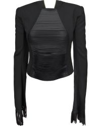 Junya Watanabe Fringe Slash Front Long Sleeve Top Black - Lyst