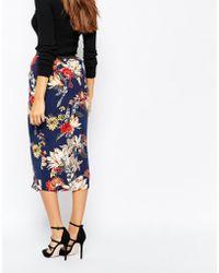 Warehouse Floral Wrap Midi Skirt - Blue