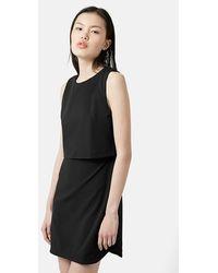 Topshop Sleeveless Overlay Dress - Lyst