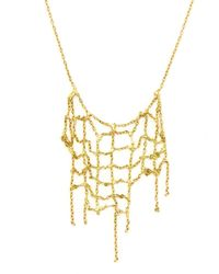 Sia Taylor - Gold Collapsing Grid Necklace - Lyst