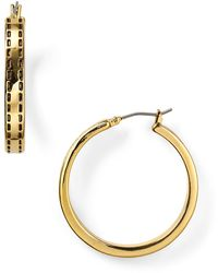 Ralph Lauren Equestrian Stitch Hoop Earrings - Lyst