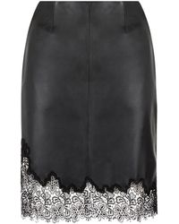 Reiss Lana Lace Trim Leather Skirt - Lyst