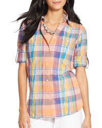 Ralph Lauren Lauren Madras Plaid Cotton Shirt - Lyst