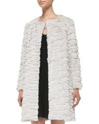 Milly Fauxfur Long Coat Beige Petite - Lyst