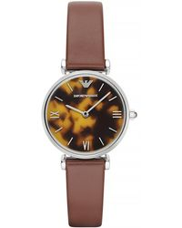Emporio Armani Ladies Silver Tone Tortoise Leather Watch - Lyst