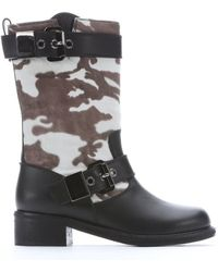 Giuseppe Zanotti Black Leather And Camouflage Calf Hair Boots - Lyst