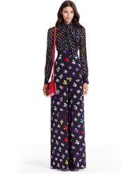 Diane von Furstenberg | Dvf Arabella Tie Neck Silk Jumpsuit | Lyst