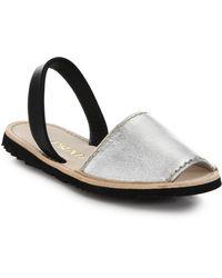 Prada Two-Tone Metallic Leather Flat Sandals silver - Lyst