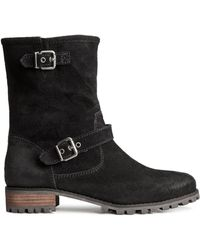 H&M Black Suede Boots - Lyst