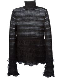 Alexander McQueen Fringed Open Knit Sweater - Lyst