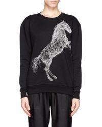 Stella McCartney Horse Embroidery Fleece Sweatshirt - Lyst