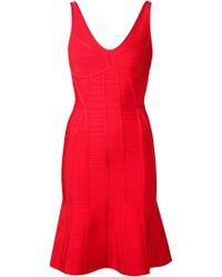 Hervé Léger Sleeveless Flared Dress - Lyst