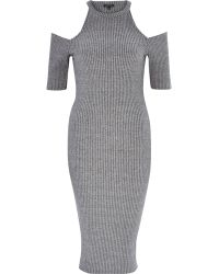 River Island Grey Ribbed Cold Shoulder Bodycon Dress gray - Lyst